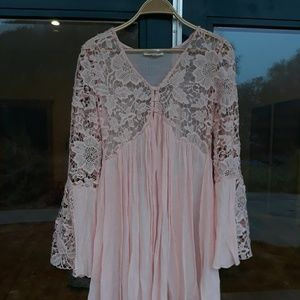 Rebellion pink lace sheer bell sleeve dress M